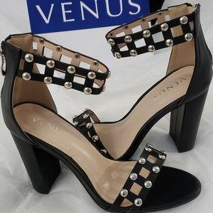 """Venus Black Sandals 4"""" Heels"""